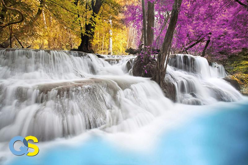 Tranh dán tường 3D thác nước QS010