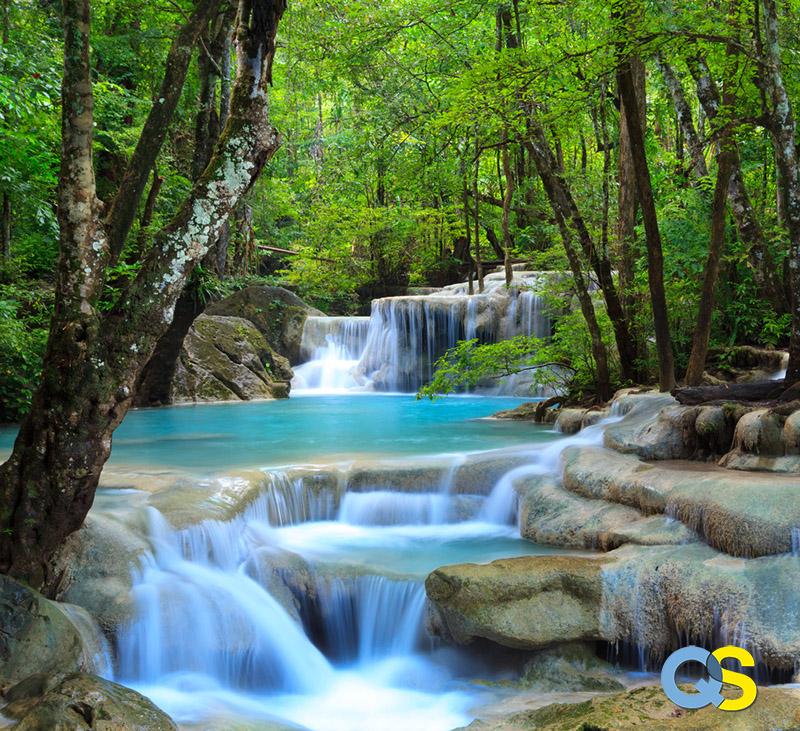Tranh dán tường 3D thác nước QS016