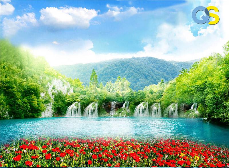 Tranh dán tường 3D thác nước QS012