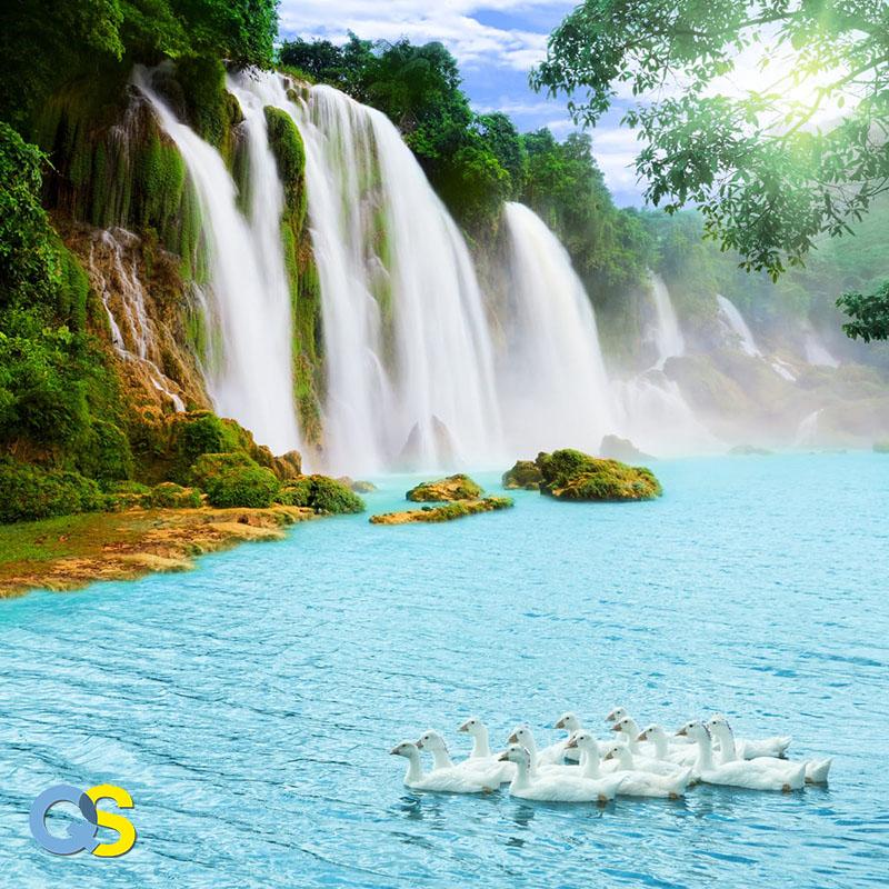 Tranh dán tường 3D thác nước QS019