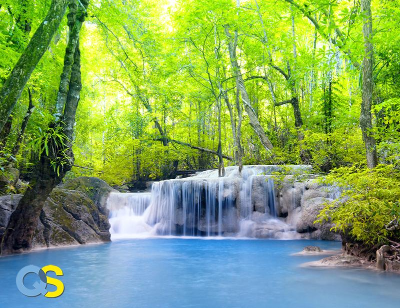 Tranh dán tường 3D thác nước QS004