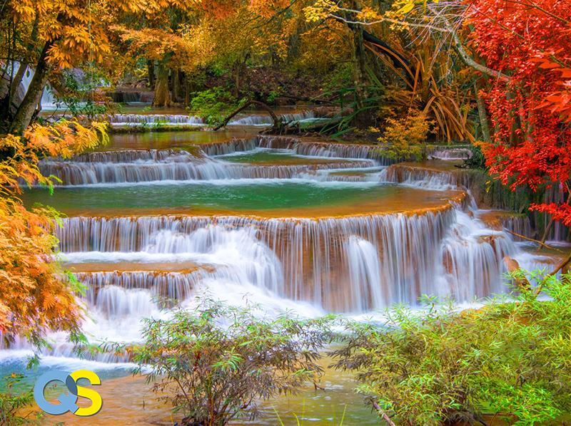 Tranh dán tường 3D thác nước QS014