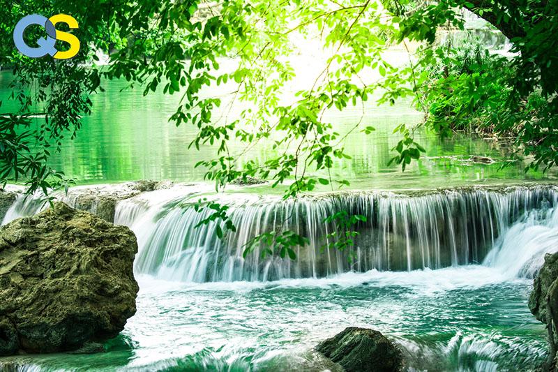 Tranh dán tường 3D thác nước QS031